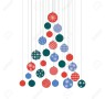 A stylized Christmas tree decorated with multicolored balls